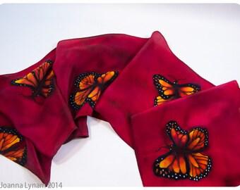 """Valentine gift. Monarch Butterfly Silk Scarf. Butterfly scarf. Hand-painted silk scarf. handpainted silk scarves. 8""""x52"""" handmade silk scarf"""