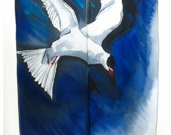 "Silk Wallhanging~Arctic Tern in Flight~29""x51"" crepe de chine silk~Handmade silk scarf~Handpainted silk scarves~Bird wall art"
