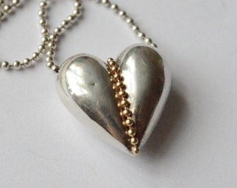 Vintage Sterling Silver and 14K Gold Puffy Heart Ball Chain Necklace