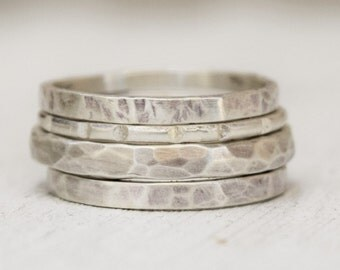 Sterling Silver Hammered Stacking Rings - Simple Jewelry - Hammered Jewelry - Gift For Her - Ring Set - Custom Made