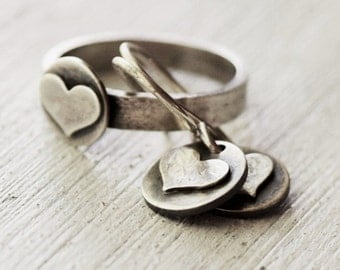 Silver Heart Ring W Earrings - Sterling Silver- Sterling Silver Ring - Rustic Jewelry - Hammered Silver Jewelry - Gift For Her
