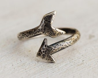 Adjustable Hammered Rustic Sterling Silver Arrow Ring