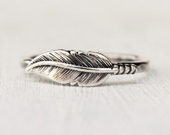 Sterling Silver Feather Ring - Unique Wedding Ring - Metalwork - Silver Stacking Ring  - Feather Band - Bridesmaids Ring - Birthday Gift