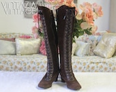 Vtg 70s Suede Capezios Lace Up Tall Boots Brown  Leather Boho Hippie Retro 6 1/2 M