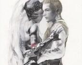 FFXII - Fran & Balthier Embrace 9x12 Watercolor Print