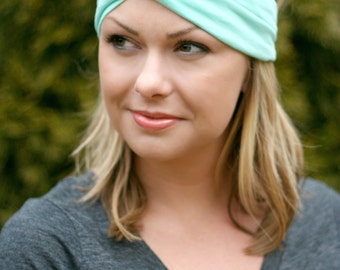 Mint Knit Turban Wrap Headband