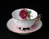 Vintage Pink Roses Teacup Set Tea Cup and Saucer Yada 3-foot Gold White Bone China