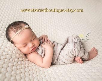 Simple Newborn Headband Simple Gold Headband Pearl Tie Back Pearl Headbands Gold Baby Headbands Baby Girl Headbands Newborn Photo Prop