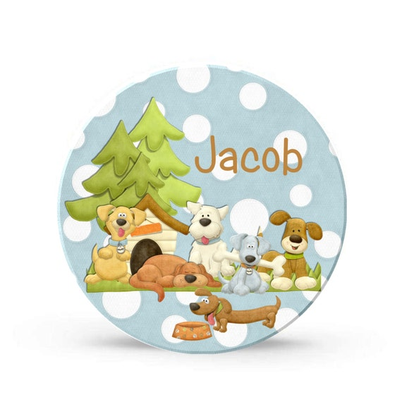 Kids Personalized Plate - Dog and Puppy Boy Melamine Plate - Personalized Plastic 10 inch Plate  - Plastic Plate for Kids