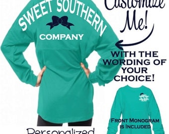 Customized Pom Pom Pullover - The Perfect Oversized Jersey Personalized with Your Choice of Wording - Monogram is Included