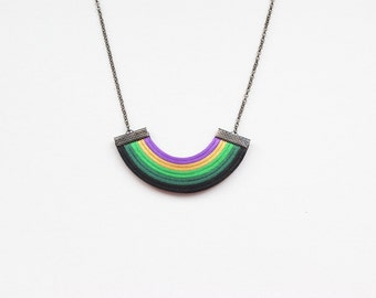Multicolor necklace, rainbow necklace, geometric necklace, green and black necklace, colourful, spring trends, minimal necklace