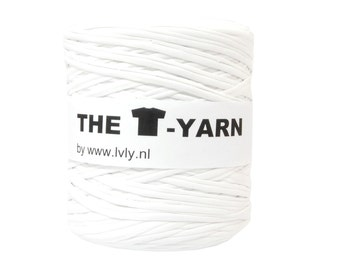 The t-shirt yarn 120-135 yards, 100% recycled cotton tricot yarn, white 68