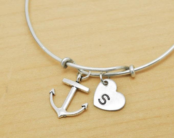 Anchor Bangle, Sterling Silver Bangle, Anchor Bracelet, Bridesmaid Gift, Personalized Bracelet, Charm Bangle, Monogram, Initial Bracelet