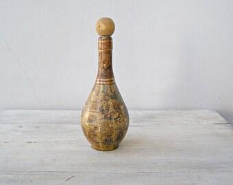Embellished Glass Decanter Vintage, Altered Glass Bottle, Lamp Base Idea, Glass Bud Vase, Bar Decor Ancient World Map Decoupage Bottle
