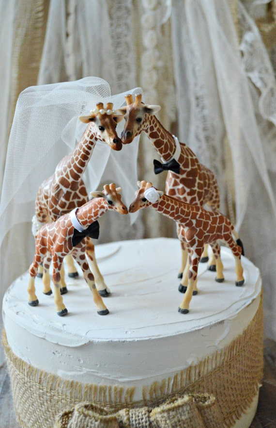 animal wedding cake toppers uk giraffe family wedding cake by morganthecreator on etsy 10775