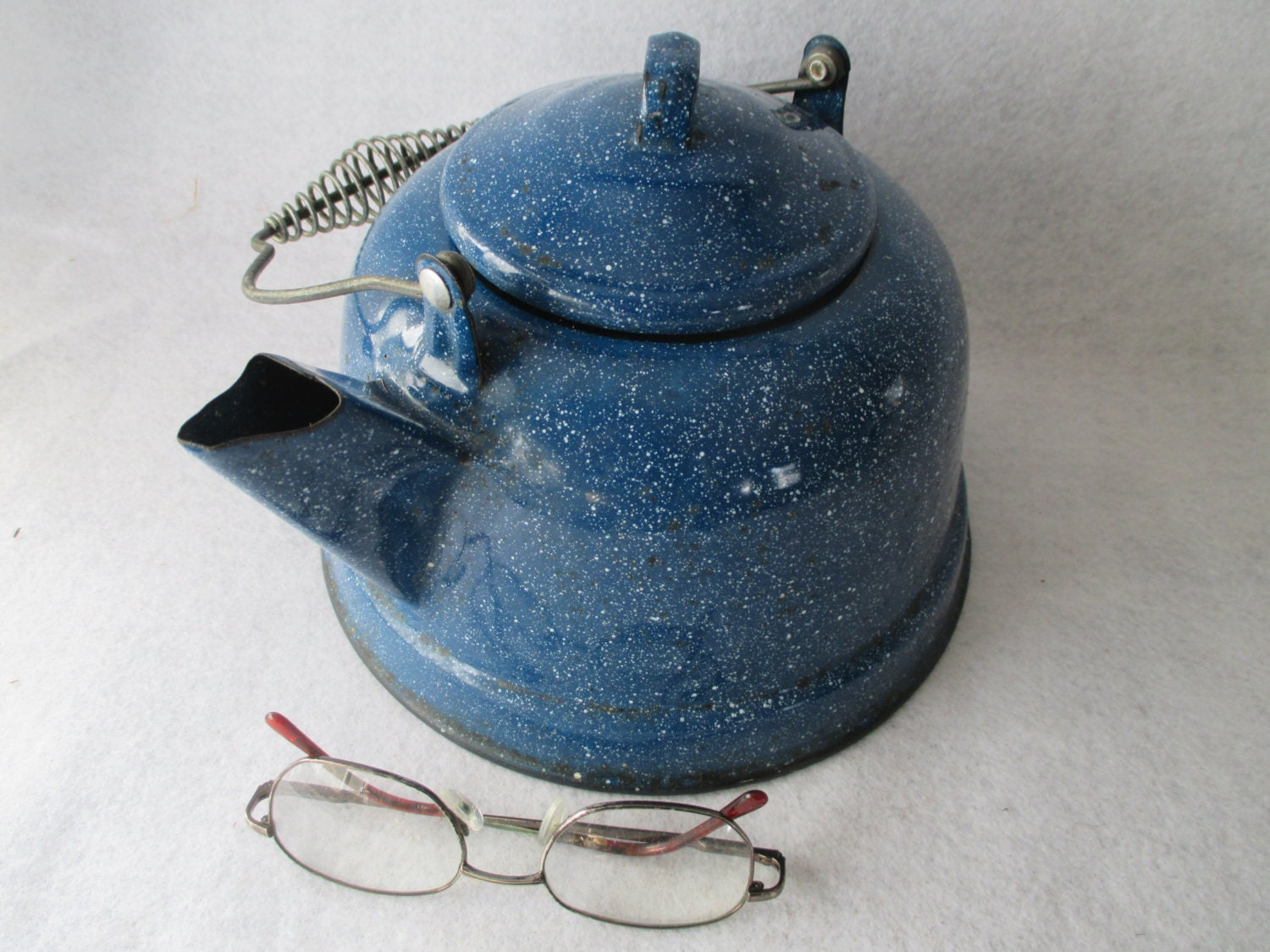 Tea Kettle Blue Speckled Graniteware Vintage Enamelware