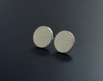 Sterling Silver Earrings, Orange Skin, Textured, Ear Studs, Modern, Contemporary, Minimal, Circle