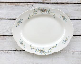 Vintage Large Ironstone White Platter Vodrey China Dinnerware Large Oval Serving Platter