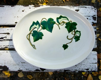 California ivy hand painted Poppytrail ivy oval serving platter