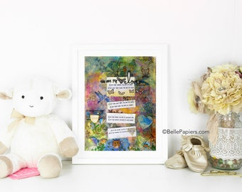 You Are My I Love You Mixed Media Nursery Art Print Whimsical Colorful Love Nursery Baby Boy Baby Girl Decoration Wall Art