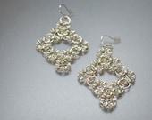 Deco Diamond Earring - Crochet Wire Dangle Earring Silver
