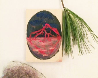 Iceberg - Original Handmade Miniature Wood Gouache Painting