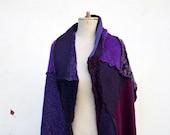 patchwork wool woman scarf shawl Cozy warm Hand knited purple violet plum unique, soft felted wool, geometrical, patchwork scarf, fashion 24