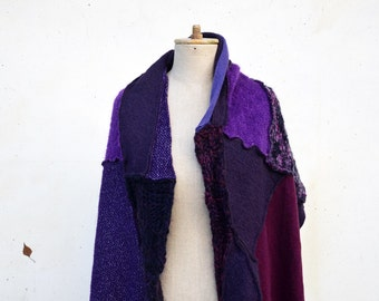patchwork wool woman scarf shawl Cozy warm Hand knited purple violet plum unique, soft felted wool, geometrical, patchwork scarf, fashion 24