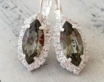 Smokey gray black diamond crystal drop earrings, Bridesmaid gifts, Bridal jewelry, wedding jewelry, Marquise Drop earrings, Dangle earrings