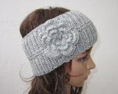 hand knit headband crochet flower headwrap ear warmer hat crocheted flower gray grey