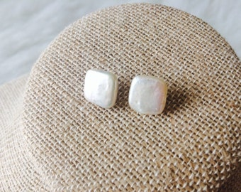 Square Freshwater Pearl Stud Earrings