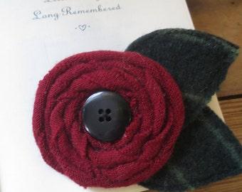 Recycled Wool Flower Brooch Pin
