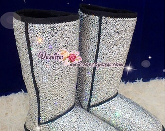 PROMOTION WINTER Bling and Sparkly Strass SheepSkin Wool BOOTS w shinning Czech or Swarovski Crystals