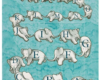 Parade of Elephant - Counting OR ABCs  -  Learning with Babar -  on 18 x 24  - Giclee Print