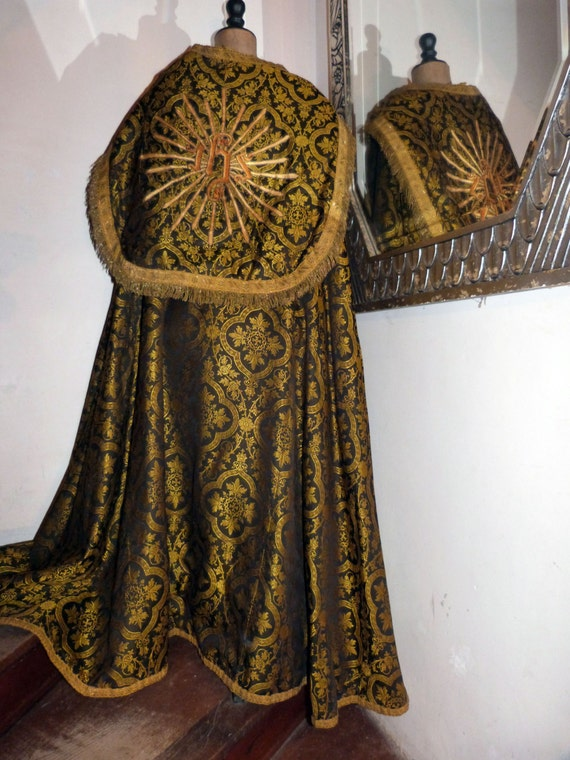 1800s Clergy Vestment Dress Church Priest Cope Robe Reversible