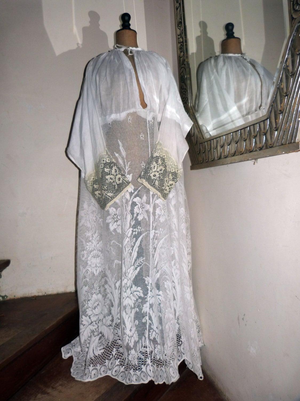 Antique Clergy Robe Shirt Alb Robe Dress Religious Vestment W