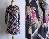 Vintage 70's Pink Roses & Black Diamond Squares Ribbon Collar Dress XS or S
