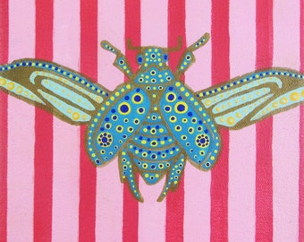 "Original Acrylic Painting of SAPPHIRE SCARAB - 8""x8"" Large Bold Bright Acrylic with Gold Detailing on Stretched Canvas"