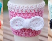 Crochet Coffee Cozy with Bow - You Choose Colors - Coffee Sleeve