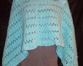 Lacy Crochet Wrap - Prayer - Wedding Shawl in Aqua Blue