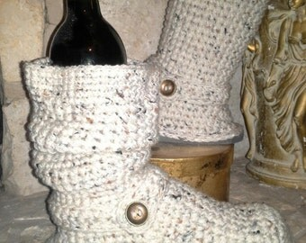 "Fresh Made ""Oatmeal Cookie"" Crochet Sweater Boots size Small(5-6.5) ""4in1"" style (Oatmeal color with multi-color flecks)"