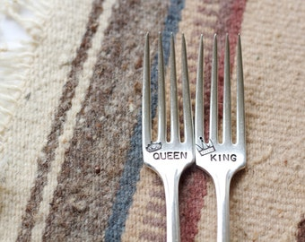 King and Queen Fork Set - Hand Stamped with wedding date - personalized with the bride and groom wedding date