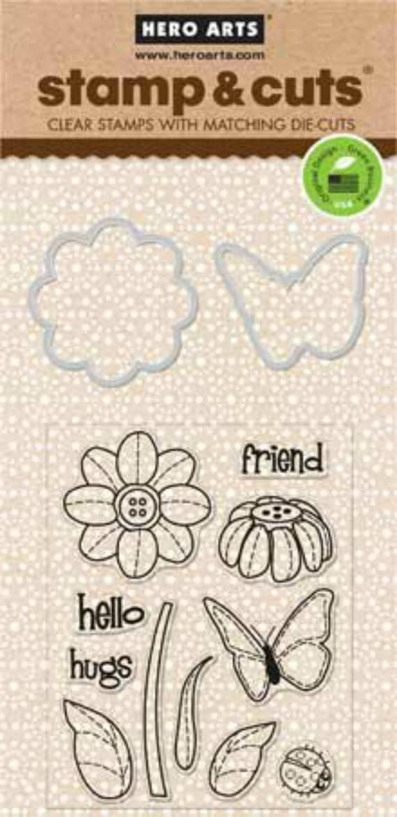 Hero Arts Butterfly and Flower Stamp Cut DC147 Clear Stamps and Dies