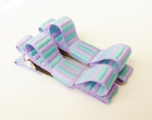 stripe hair clips--purple and turquoise tuxedo style accessories for infants toddlers and big girls-shower gift ideas