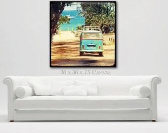 VW Bus Canvas Wall Art, VW Bus Retro Art, Surf Art, Large Canvas Print Wall Art, Surfer Decor, Retro Surf Beach Art