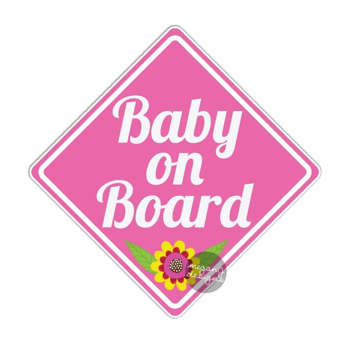 baby on board car sticker pink baby girl bumper sticker car. Black Bedroom Furniture Sets. Home Design Ideas