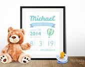Birth Announcement Wall Art - Hot Air Balloon theme - PRINTABLE 8x10 Sign / Print in Your choice of colour! - Digital File