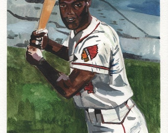 "Hank Aaron. Milwaukee Braves. Watercolor and Gouache on Paper. 9"" x 12"""