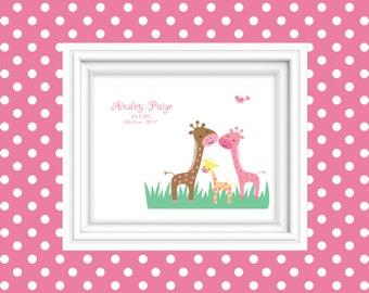 Birth Stat Wall Art Personalized Giraffe Birth Announcement Birth Stat Print Nursery Decor Wall Art New Baby Gift Newborn Gift 8x10 Print