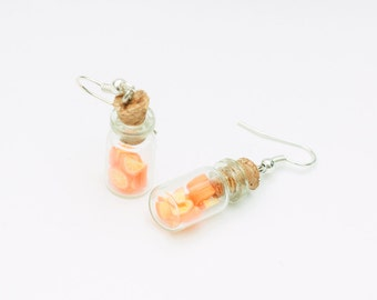 Fruit earrings - oranges in jars, orange, food earrings, fruits jewelry, polymer clay jewellery